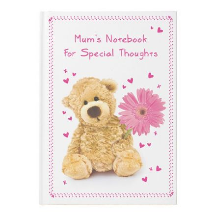 Personalised Teddy Flower Hardback Notebook